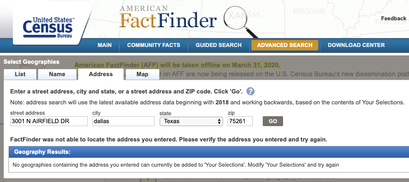 USgeocoder Covers more addresses than American FactFinder